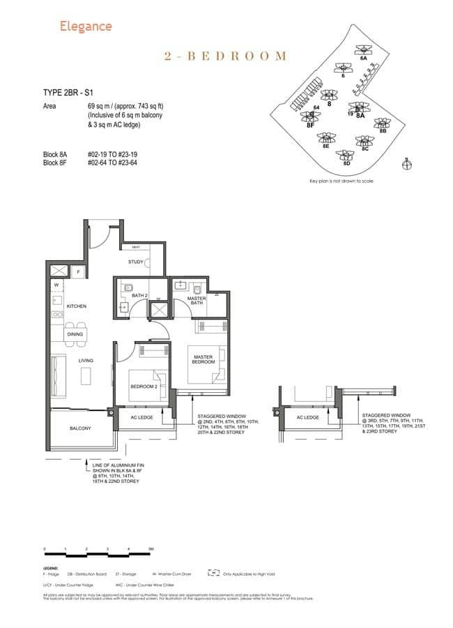 Parc Clematis Condo Floor Plan 2 Bedroom + Study (Elegance) - 2BR+S1
