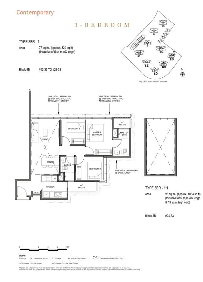 Parc Clematis Condo Floor Plan 3 Bedroom (Contemporary) - 3BR-1