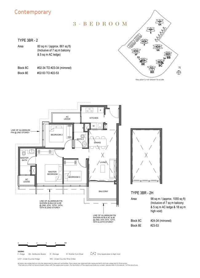 Parc Clematis Condo Floor Plan 3 Bedroom (Contemporary) - 3BR-2
