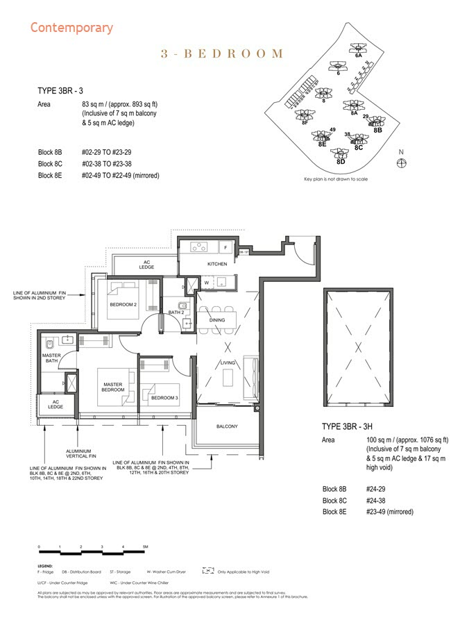 Parc Clematis Condo Floor Plan 3 Bedroom (Contemporary) - 3BR-3