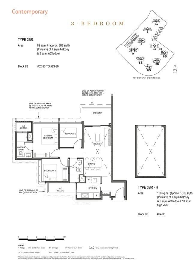Parc Clematis Condo Floor Plan 3 Bedroom (Contemporary) - 3BR