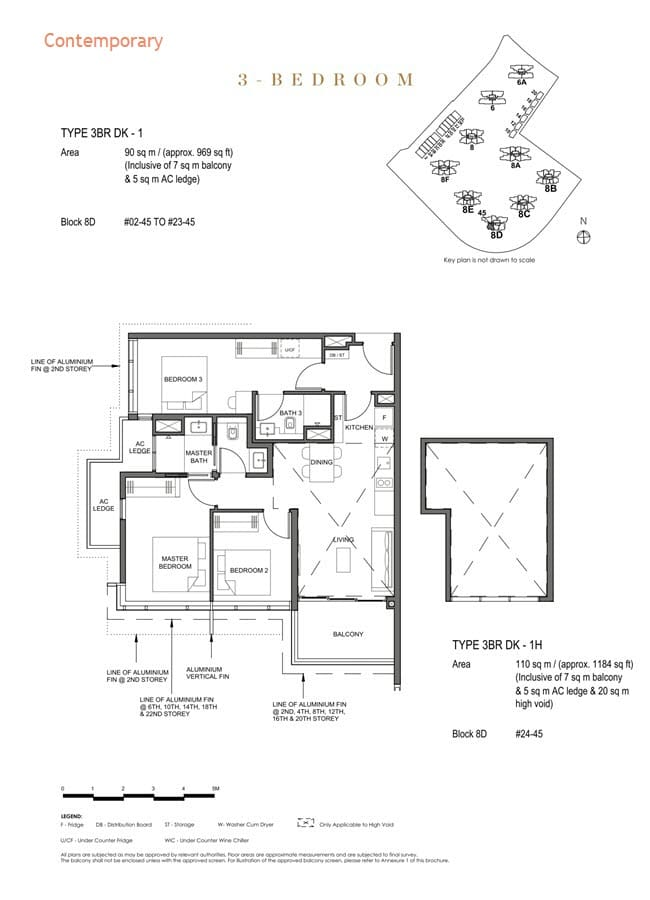 Parc Clematis Condo Floor Plan 3 Bedroom Dual Key (Contemporary) - 3BR DK-1