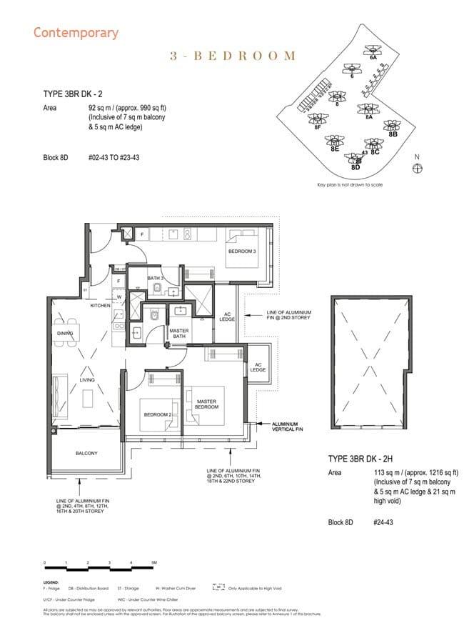 Parc Clematis Condo Floor Plan 3 Bedroom Dual Key (Contemporary) - 3BR DK-2