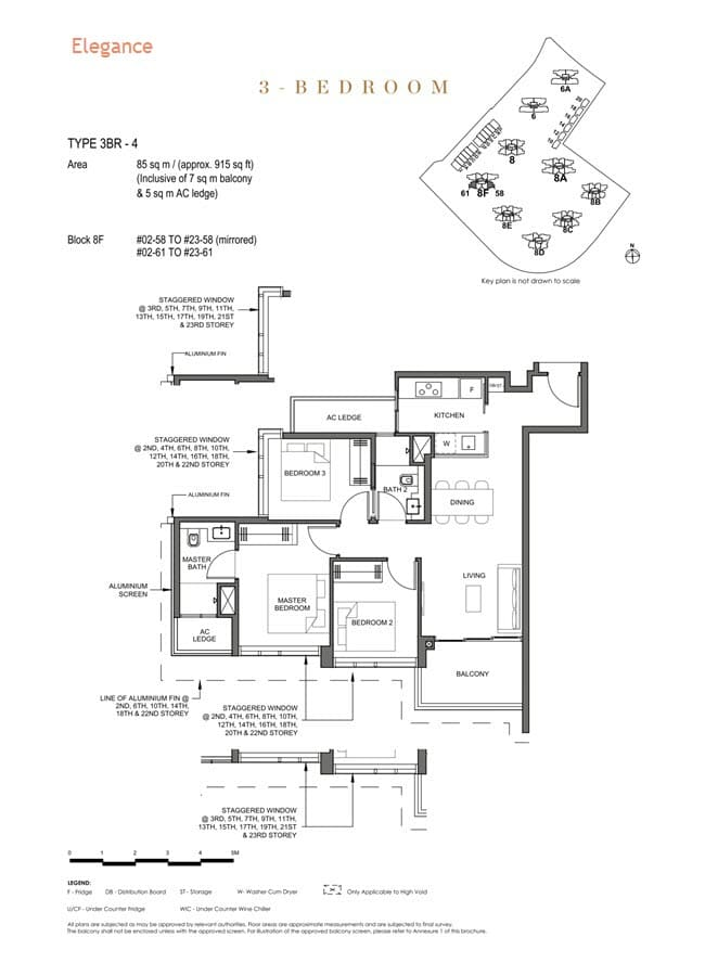 Parc Clematis Condo Floor Plan 3 Bedroom (Elegance) - 3BR-4