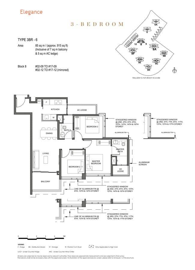 Parc Clematis Condo Floor Plan 3 Bedroom (Elegance) - 3BR-6