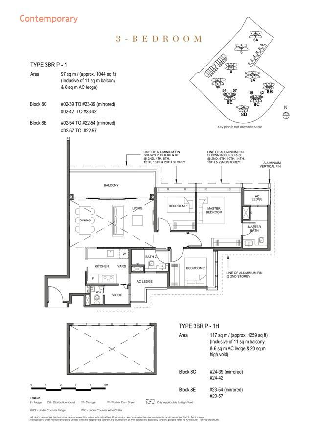 Parc Clematis Condo Floor Plan 3 Bedroom Premium (Contemporary) - 3BR P-1