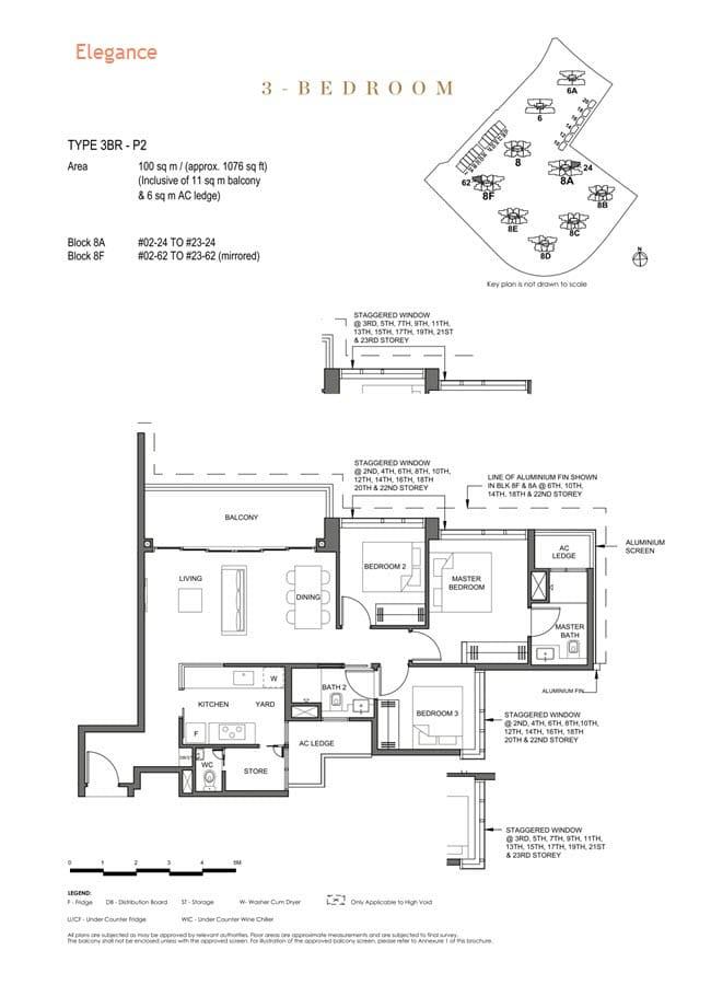 Parc Clematis Condo Floor Plan 3 Bedroom Premium (Elegance) - 3BR P-2