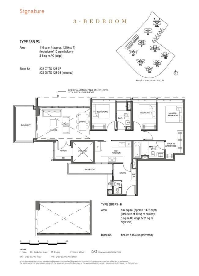Parc Clematis Condo Floor Plan 3 Bedroom Premium (Signature) - 3BR P-3