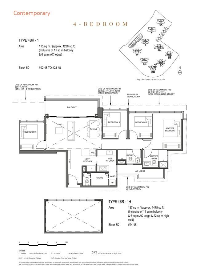 Parc Clematis Condo Floor Plan 4 Bedroom (Contemporary) - 4BR-1