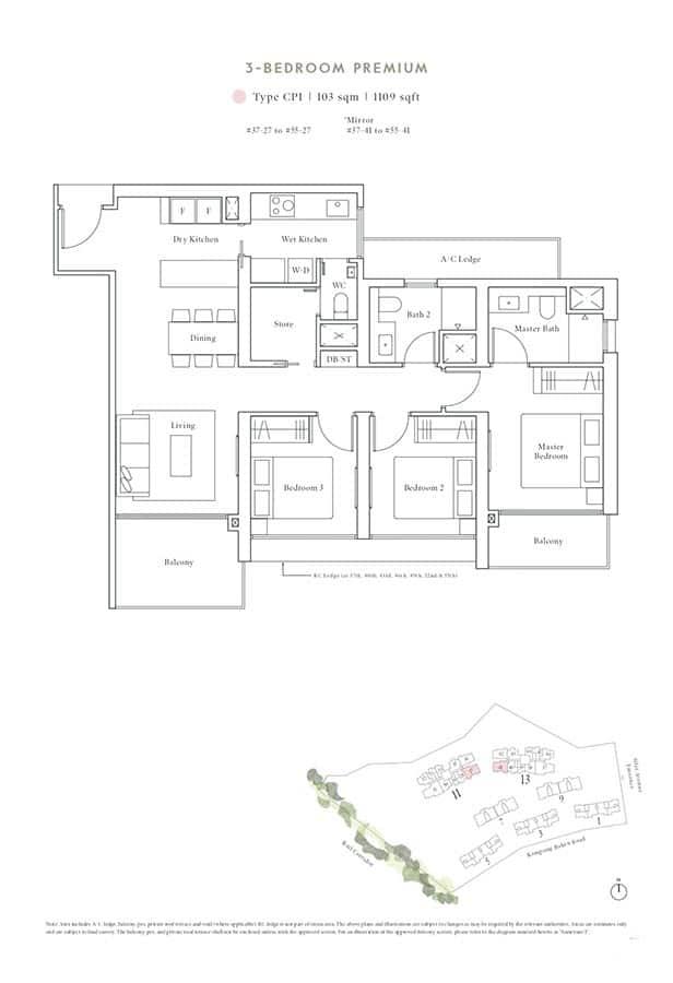 Avenue-South-Residence-Condo-Floor-Plan-Peak-Collection-3-Bedroom-Premium-CP1