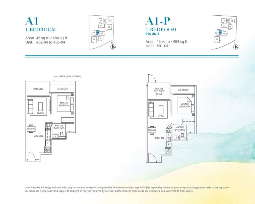 Casa-Al-Mare-Condo-Floor-Plan-1-Bedroom-A1-A1P