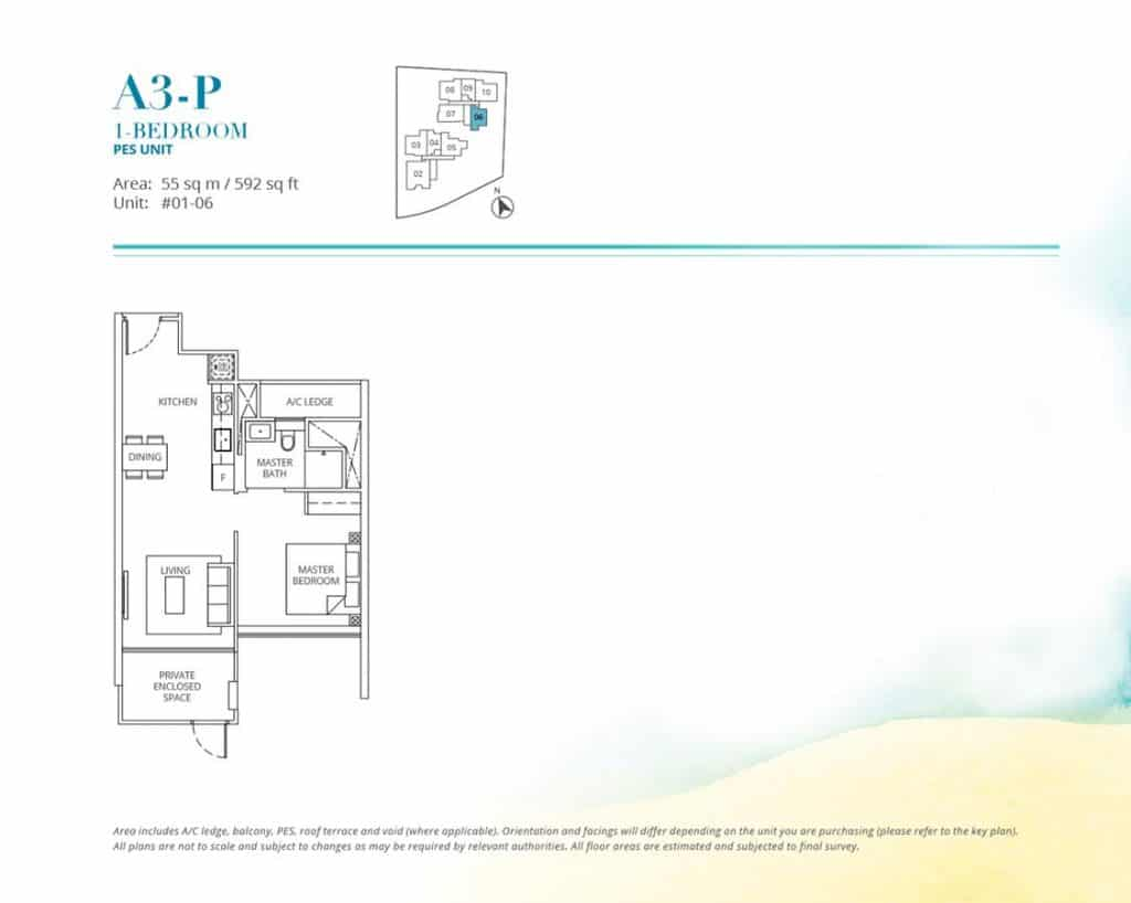 Casa-Al-Mare-Condo-Floor-Plan-1-Bedroom-A3P
