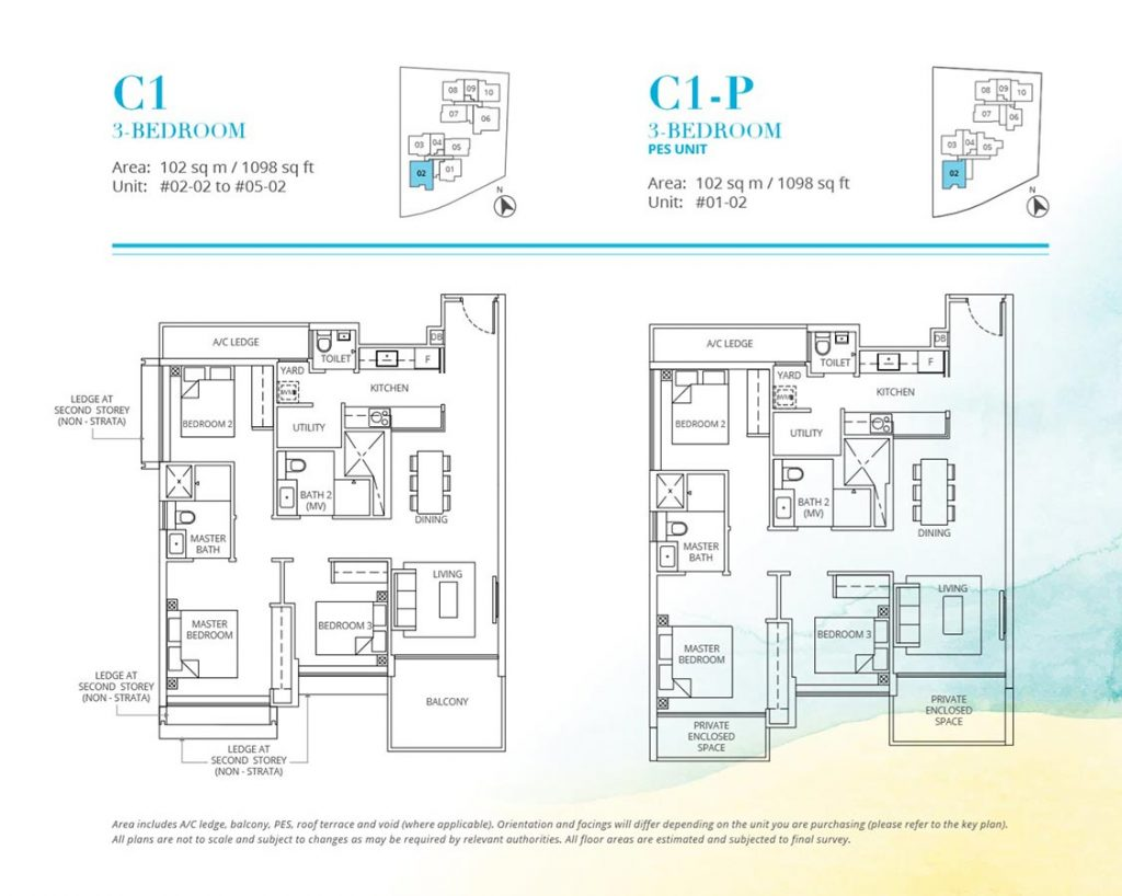 Casa-Al-Mare-Condo-Floor-Plan-3-Bedroom-C1-C1P