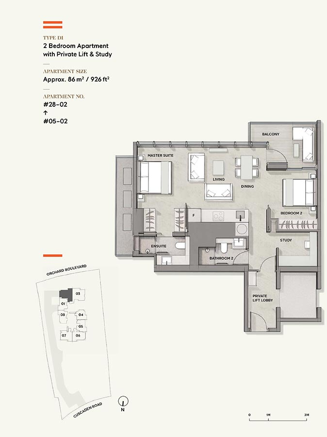 Cuscaden-Reserve-Condo-Floor-Plan-2-Bedroom-Private-Lift-Study-D1