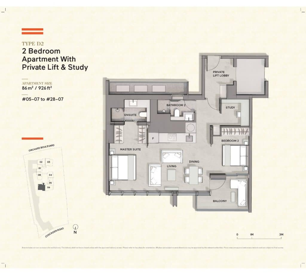 Cuscaden-Reserve-Condo-Floor-Plan-2-Bedroom-Private-Lift-Study-D2
