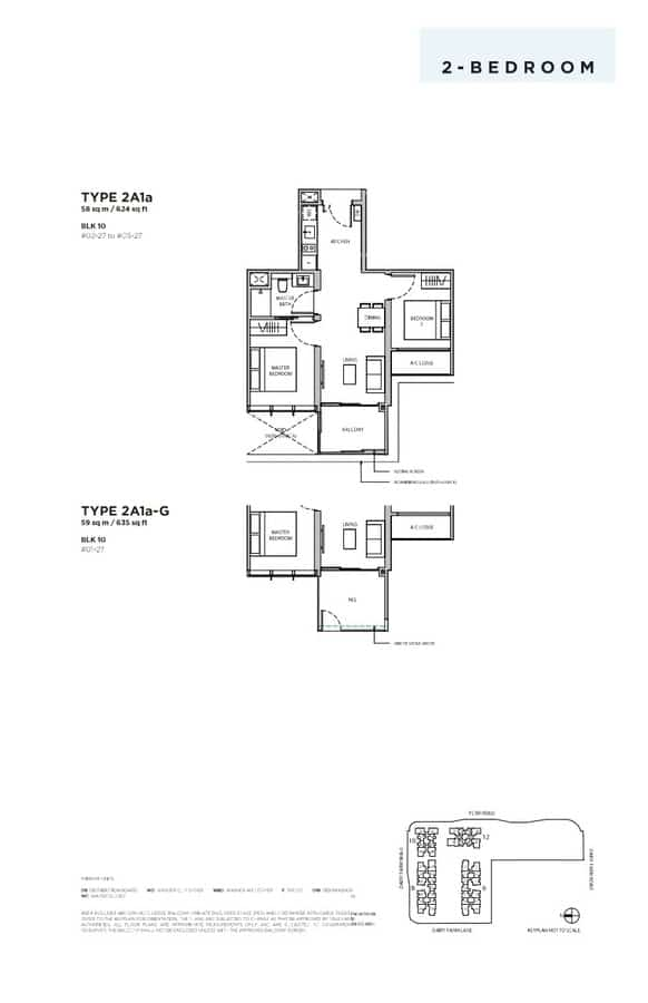 Dairy Farm Residences Condo Floor Plan 2 Bedroom 2A1a