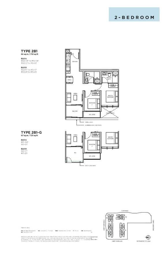 Dairy Farm Residences Condo Floor Plan 2 Bedroom 2B1