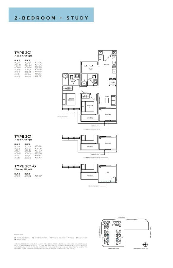 Dairy Farm Residences Condo Floor Plan 2 Bedroom Study 2C1