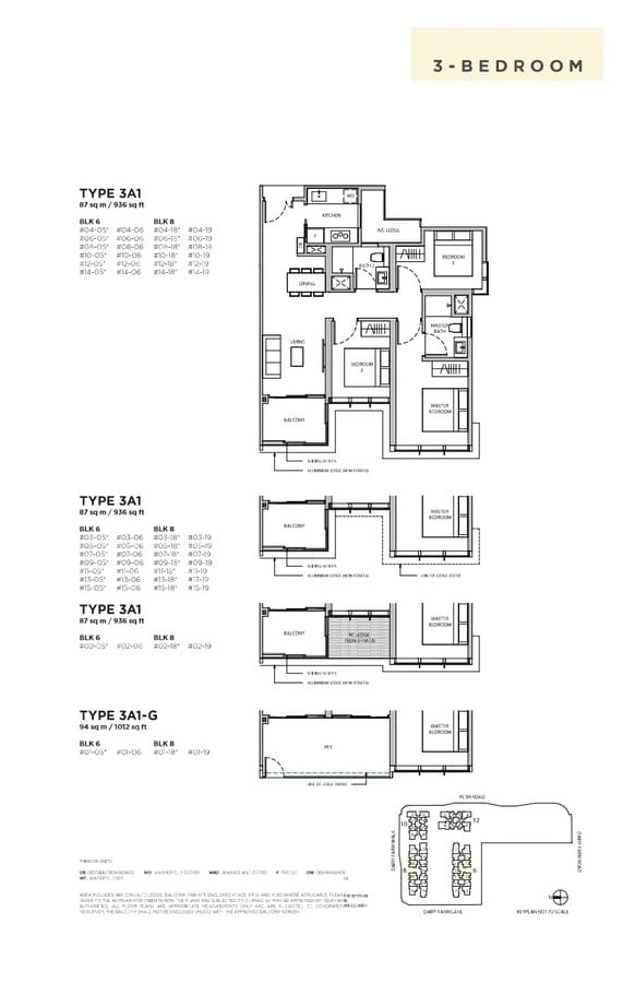 Dairy Farm Residences Condo Floor Plan 3 Bedroom 3A1