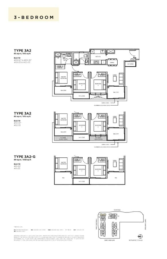 Dairy Farm Residences Condo Floor Plan 3 Bedroom 3A2