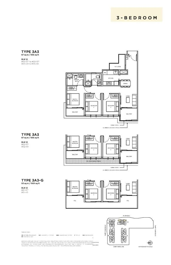 Dairy Farm Residences Condo Floor Plan 3 Bedroom 3A3