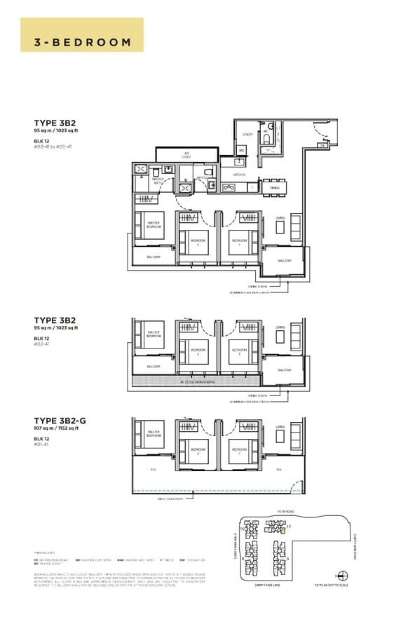 Dairy Farm Residences Condo Floor Plan 3 Bedroom 3B2