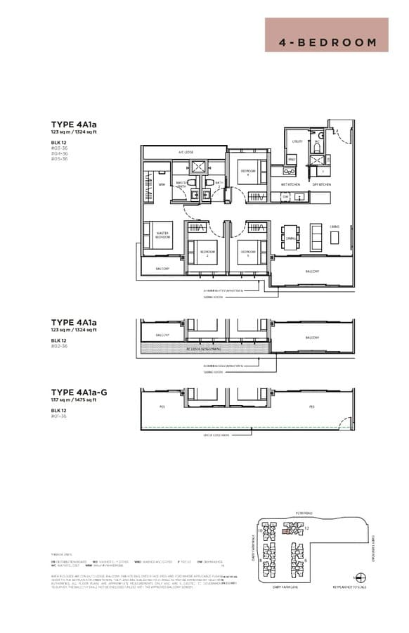 Dairy Farm Residences Condo Floor Plan 4 Bedroom 4A1a