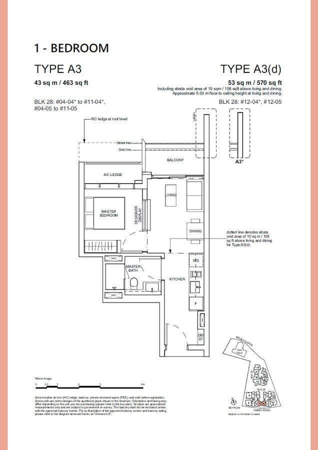 Haus On Handy Condo Floor Plan 1 Bedroom A3 A3d