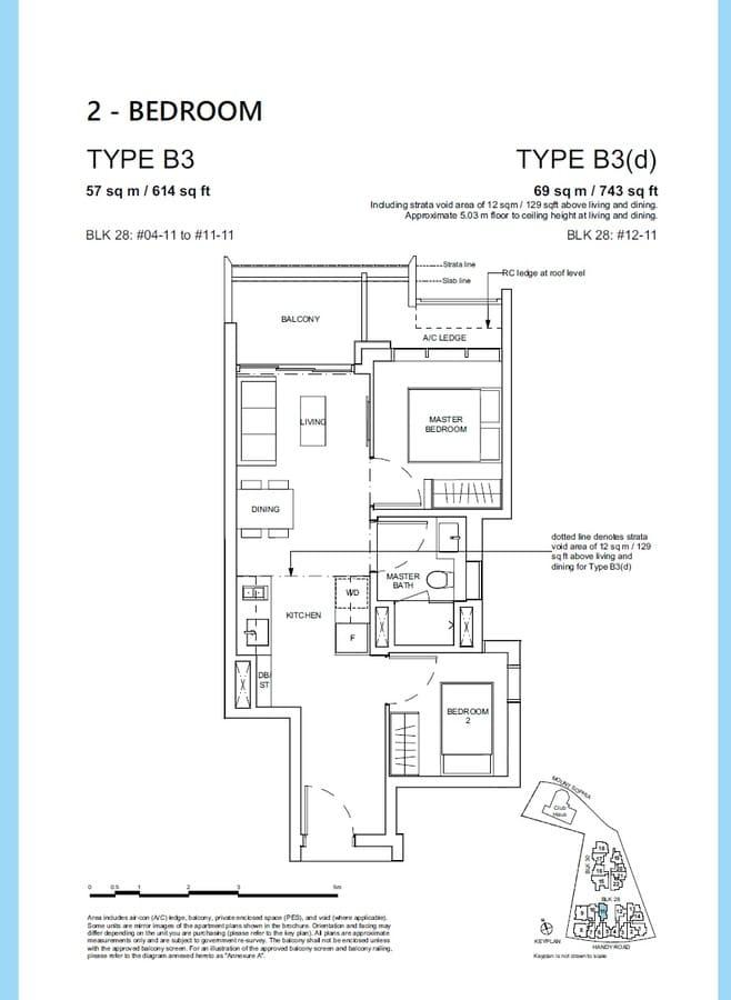 Haus On Handy Condo Floor Plan 2 Bedroom B3 B3d
