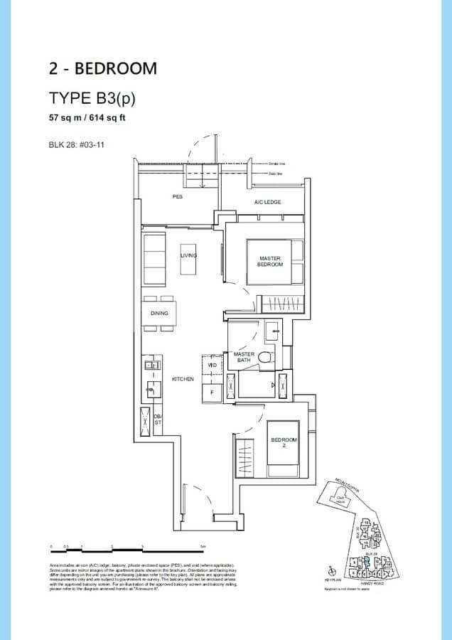 Haus On Handy Condo Floor Plan 2 Bedroom B3p