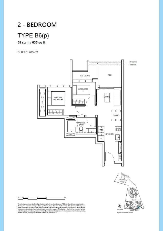 Haus On Handy Condo Floor Plan 2 Bedroom B6p