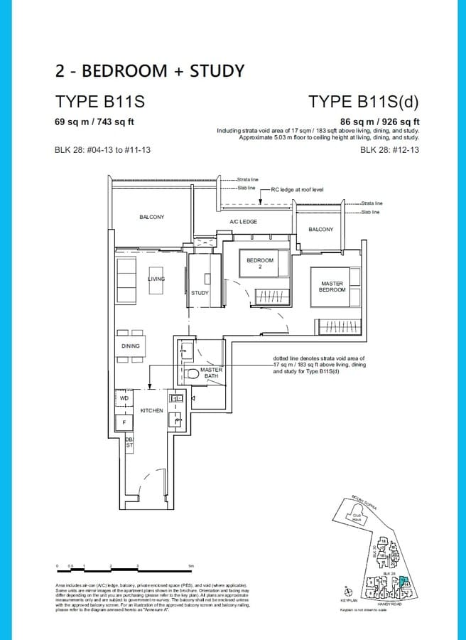 Haus On Handy Condo Floor Plan 2 Bedroom Study B11S B11Sd
