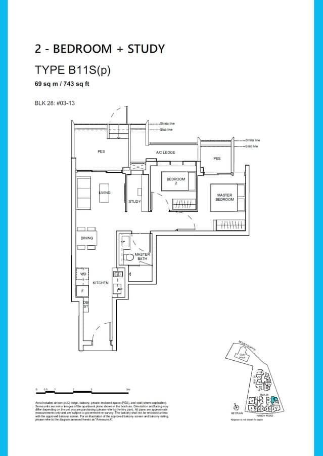 Haus On Handy Condo Floor Plan 2 Bedroom Study B11Sp