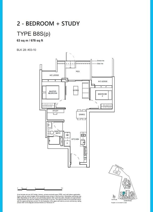 Haus On Handy Condo Floor Plan 2 Bedroom Study B8Sp