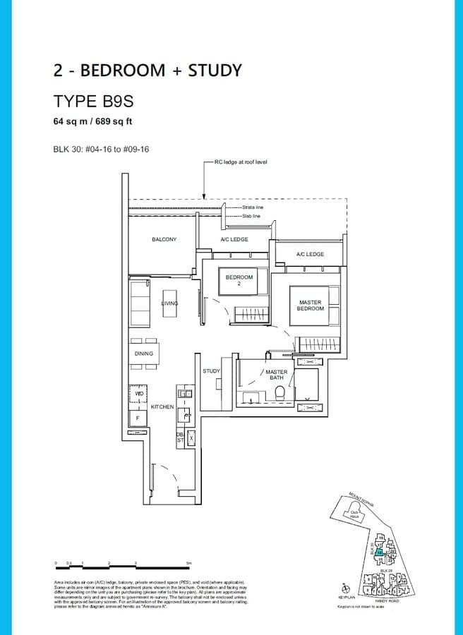 Haus On Handy Condo Floor Plan 2 Bedroom Study B9S