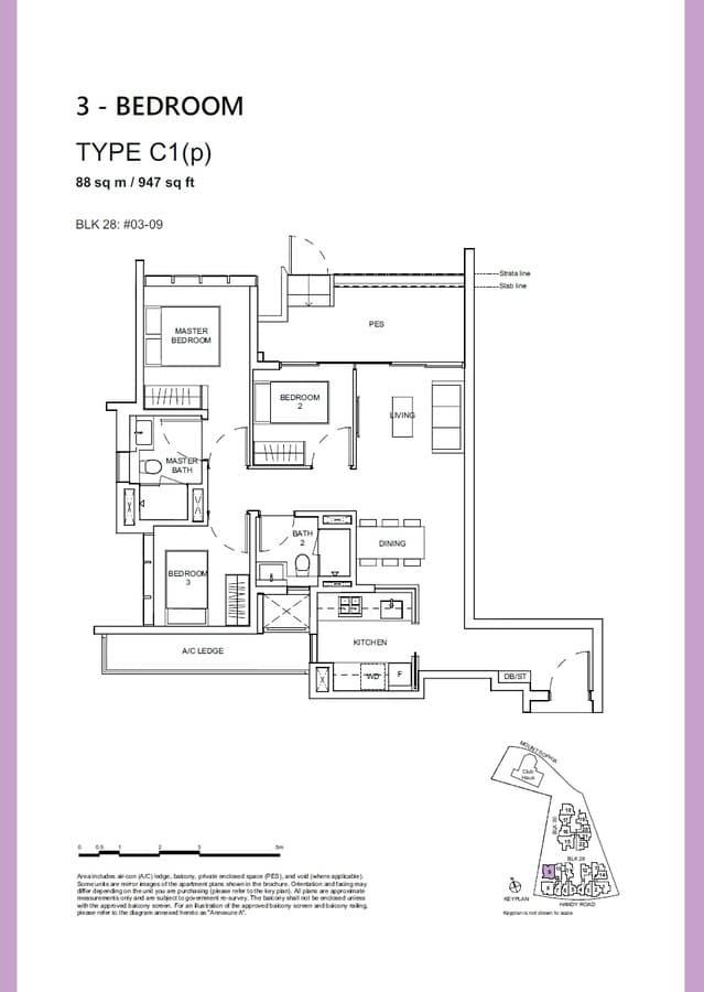 Haus On Handy Condo Floor Plan 3 Bedroom C1p