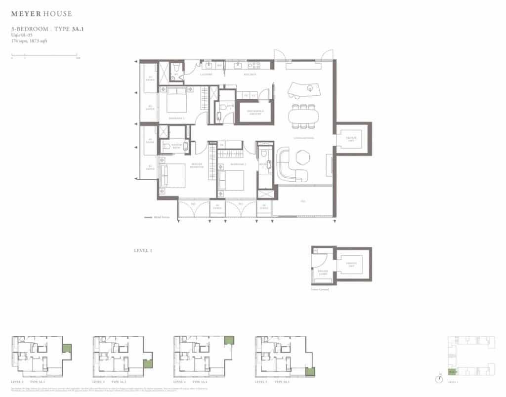 Meyer House Condo Floor Plan 3 Bedroom 3A1