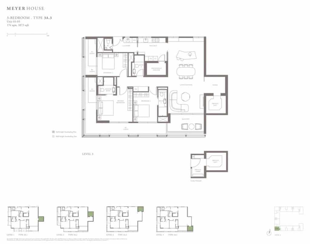Meyer House Condo Floor Plan 3 Bedroom 3A3
