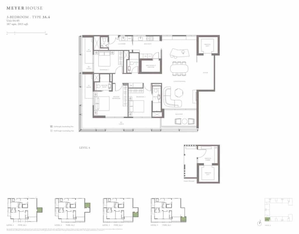 Meyer House Condo Floor Plan 3 Bedroom 3A4