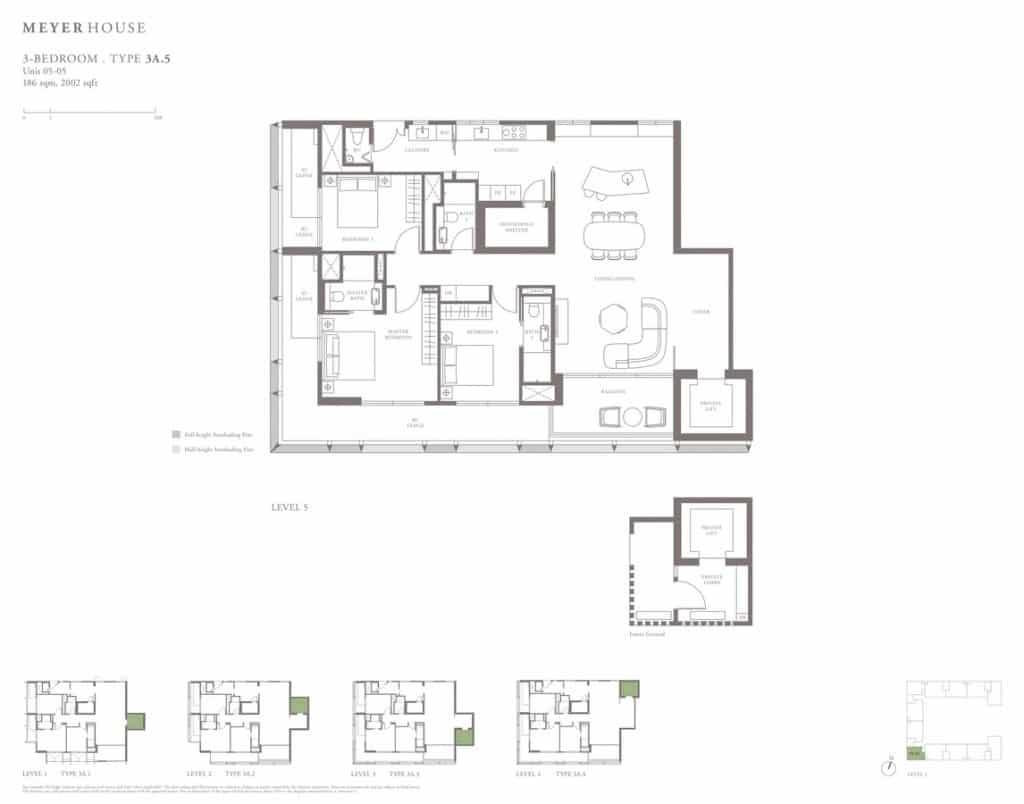 Meyer House Condo Floor Plan 3 Bedroom 3A5