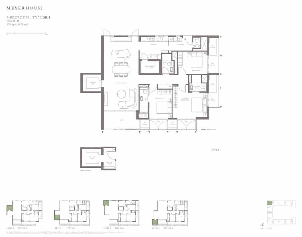 Meyer House Condo Floor Plan 3 Bedroom 3B1