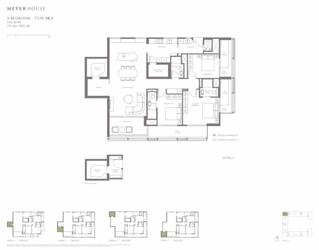 Meyer House Condo Floor Plan 3 Bedroom 3B2
