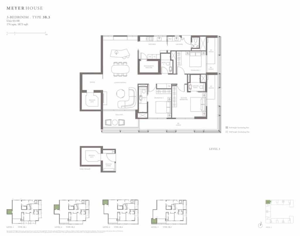 Meyer House Condo Floor Plan 3 Bedroom 3B3