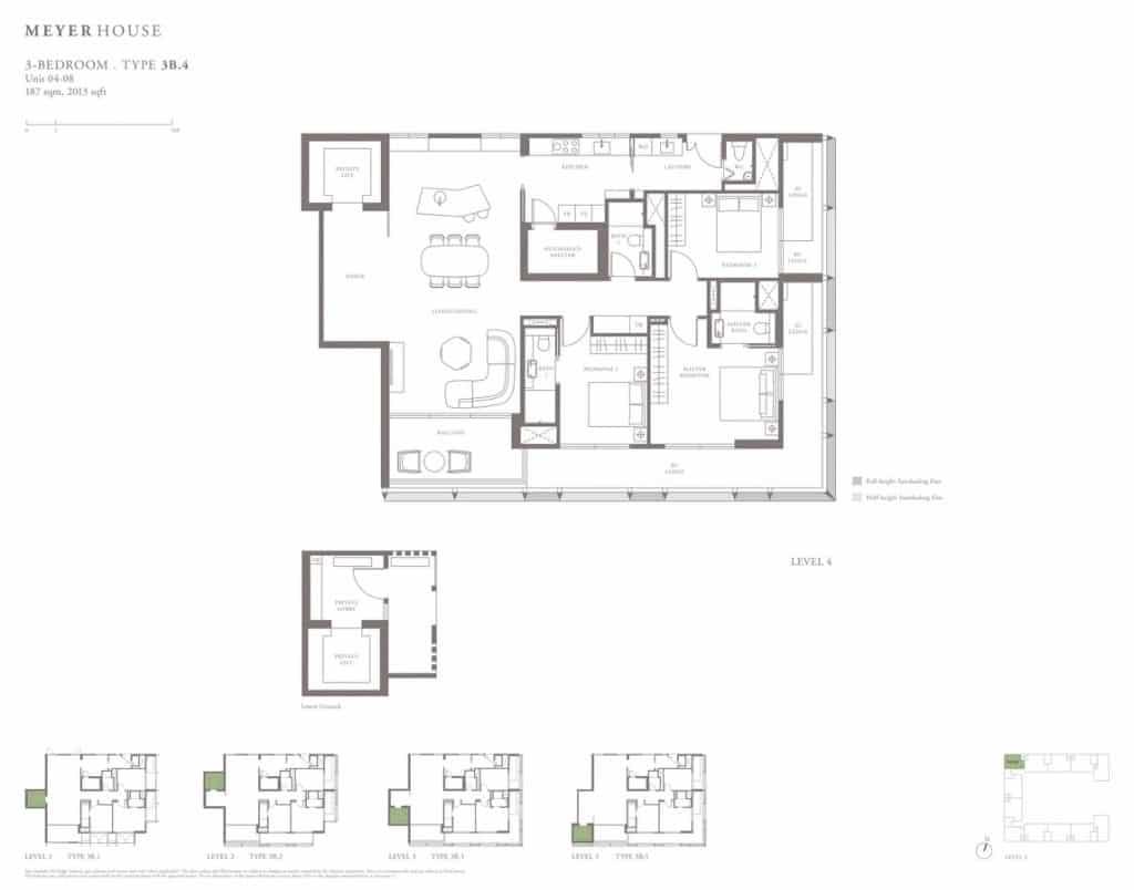 Meyer House Condo Floor Plan 3 Bedroom 3B4