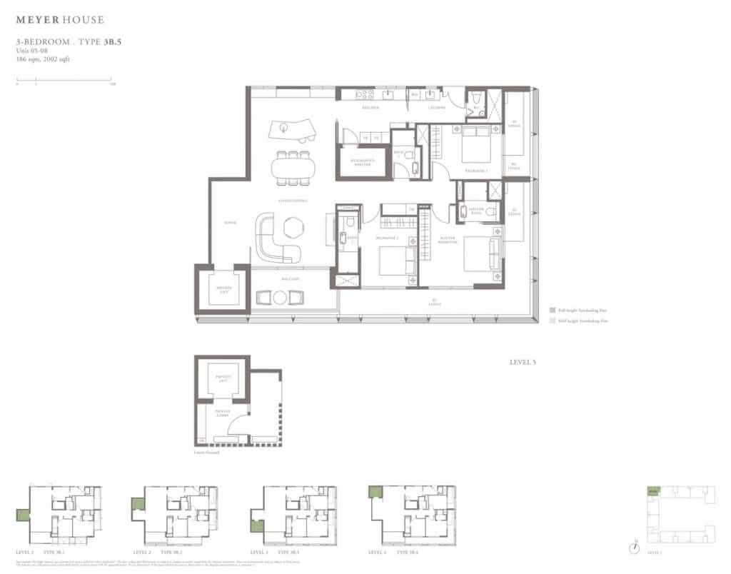 Meyer House Condo Floor Plan 3 Bedroom 3B5