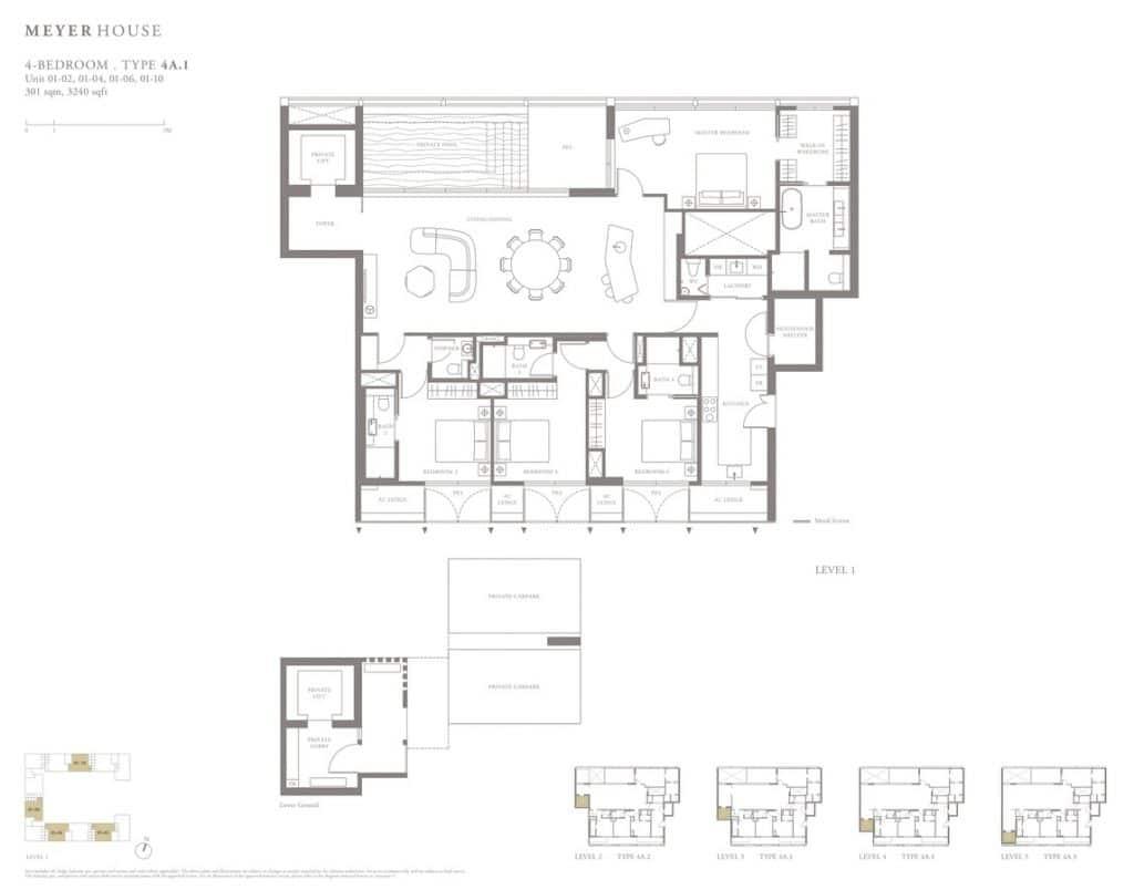 Meyer House Condo Floor Plan 4 Bedroom 4A1