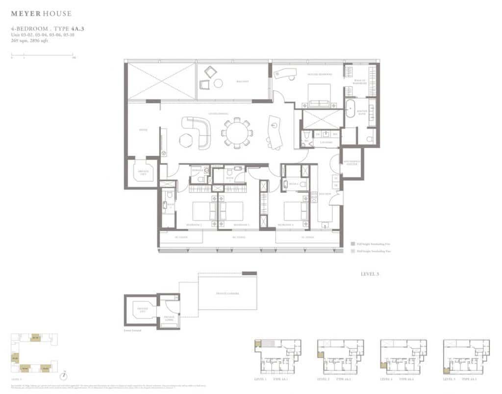 Meyer House Condo Floor Plan 4 Bedroom 4A3