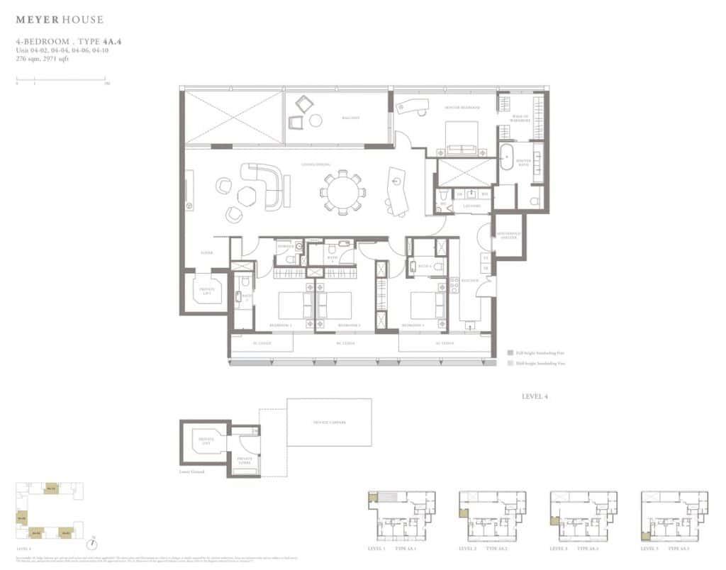 Meyer House Condo Floor Plan 4 Bedroom 4A4