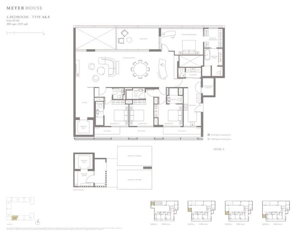 Meyer House Condo Floor Plan 4 Bedroom 4A5