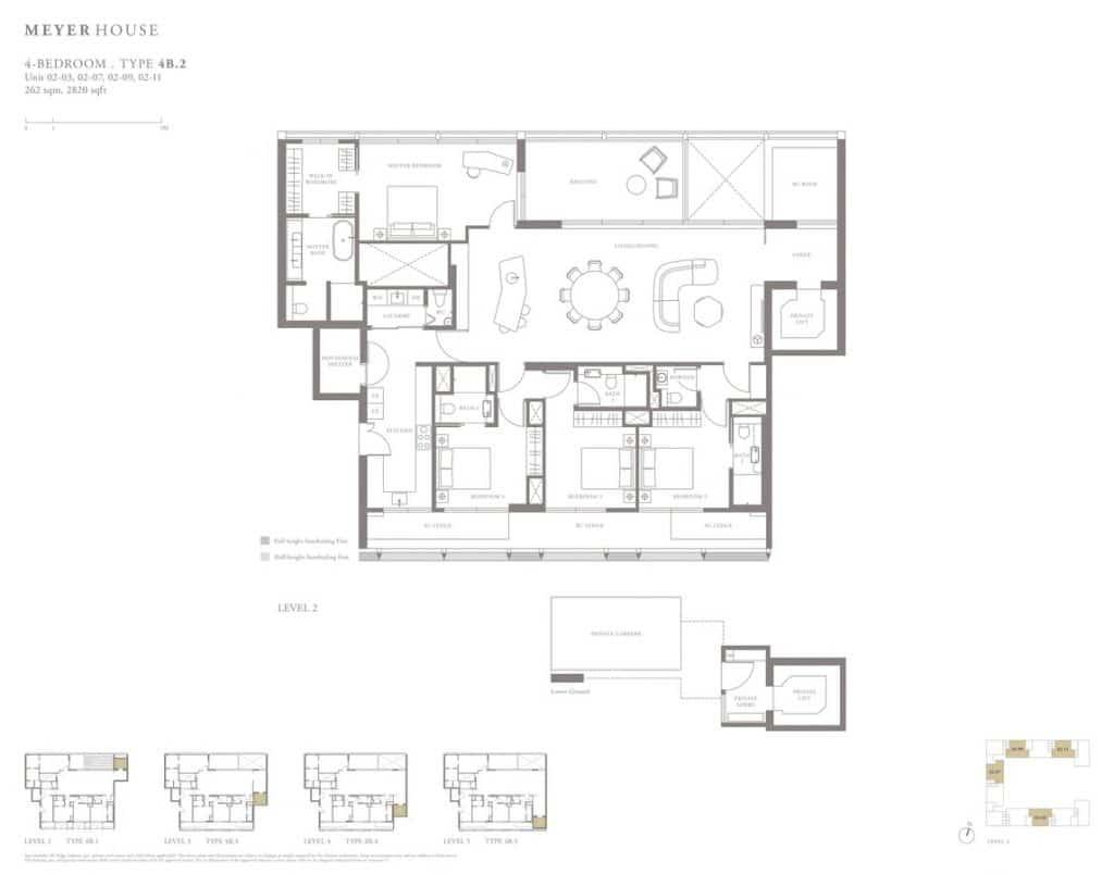 Meyer House Condo Floor Plan 4 Bedroom 4B2
